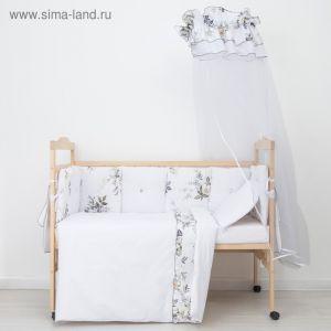Комплект в кроватку (10 предметов), принт голубые цветы 35 1915963
