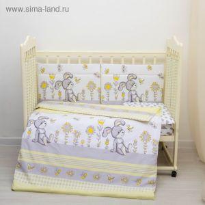 """Комплект в кроватку 6 пр. """"Лето"""", цвет жёлтый/серый, бязь, хл100%   3594841"""