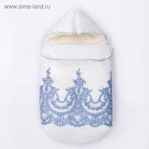 Конверт с капюшоном на молнии Узоры К220/1, молочный с голубым, рост 56-62  4147128