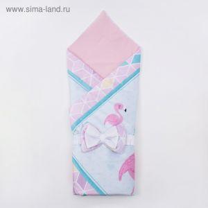"""Конверт-одеяло из велюра Крошка Я """"Flamingo"""", голубой, 100х100 см"""