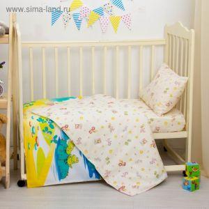 """Детское постельное бельё """"Колобок"""", размер 112х147, 60х120, 40х60 см, цвет жёлтый, хл100%, бязь 125 г/м C0115 2756551"""
