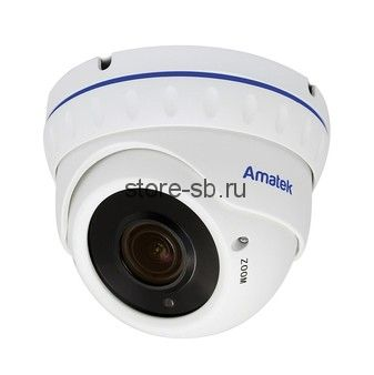 AC-IDV503VA v2 (2.8-12) Amatek Купольная антивандальная IP видеокамера, объектив 2.8-12мм, 5Мп, Ик, POE, 1 аудиовход, выход для питания микрофона