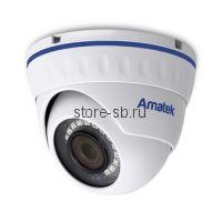 AC-IDV503M (2,8) Amatek Купольная антивандальная IP видеокамера, объектив 2.8мм, 5Мп, Ик, POE, встроенный микрофон, Слот для SD карты