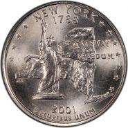 25 центов США 2001г - НЬЮ-ЙОРК, VF - Серия Штаты и территории