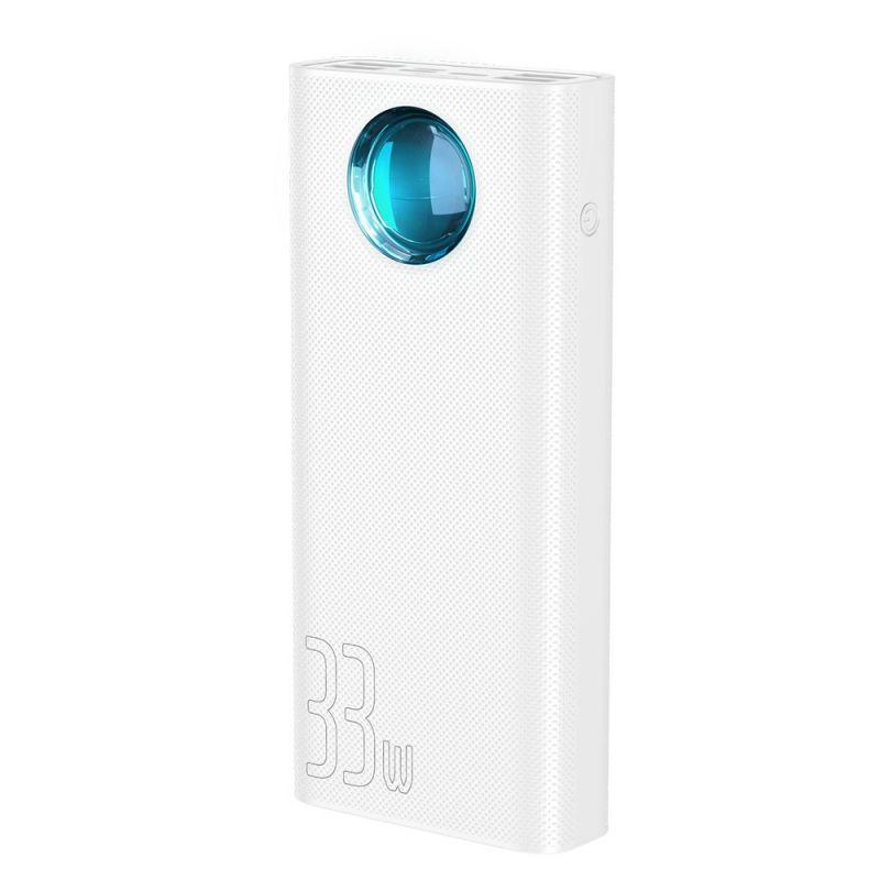 Внешний аккумулятор Baseus Amblight Quick Charge &large power digital display power bank 33W (PD3.0+QC3.0) 30000mAh (PPLG-02) White