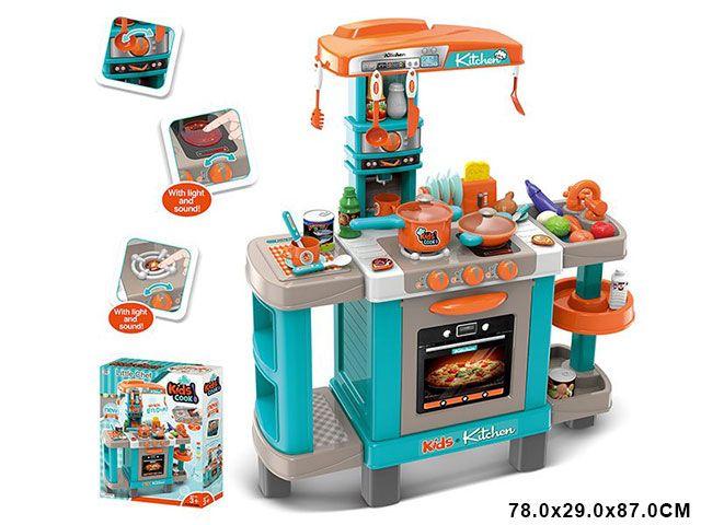 008-938А Кухня детская игровая интерактивная с микроволновкой, кофемашиной, тостером
