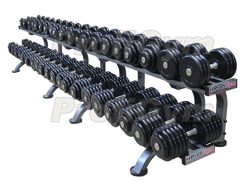 ГП-010 Обрезиненный гантельный ряд «Profigym» от 8,5 до 56 кг с шагом 2,5 кг