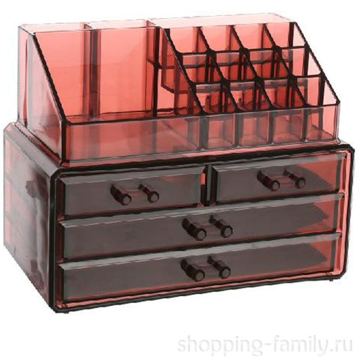 Акриловый органайзер для косметики Multi-Functional Storage Box QFY-3112, Цвет Бордовый