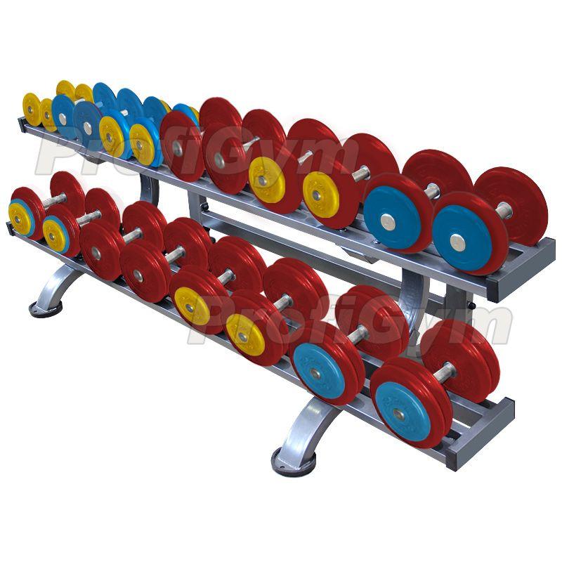 Обрезиненный цветной гантельный ряд «PROFIGYM» от 11 до 31 кг с шагом 2.5 кг