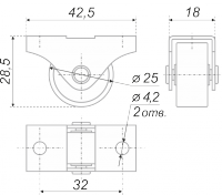 Мебельная опора (колесо мебельное) N150Zn/BL