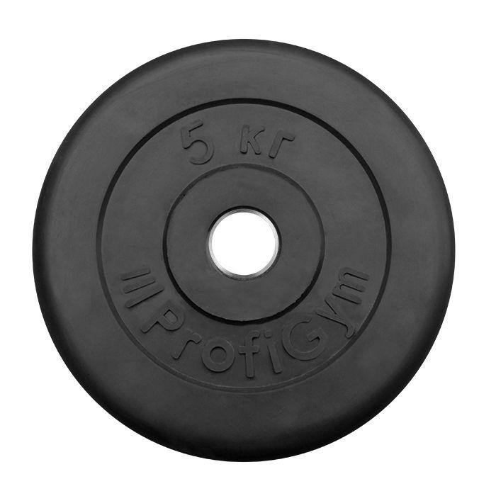 Диск «Profigym» тренировочный обрезиненный 5 кг черный 31 мм (металлическая втулка)