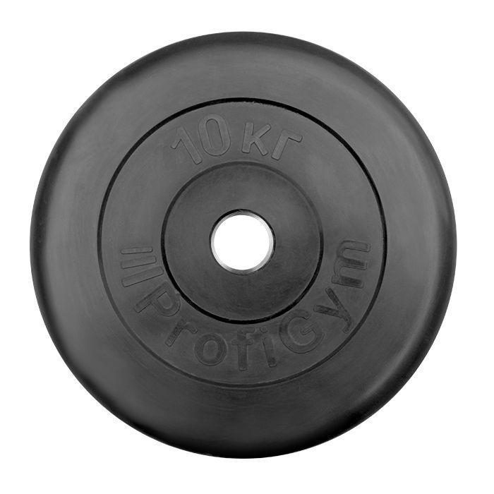Диск «Profigym» тренировочный обрезиненный 10 кг черный 31 мм (металлическая втулка)