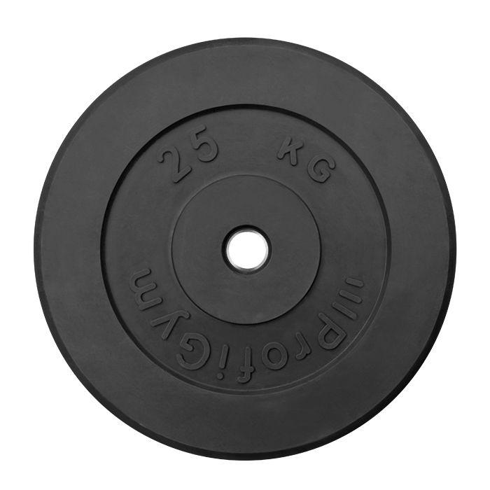 Диск «Profigym» тренировочный обрезиненный 25 кг черный 31 мм (металлическая втулка)