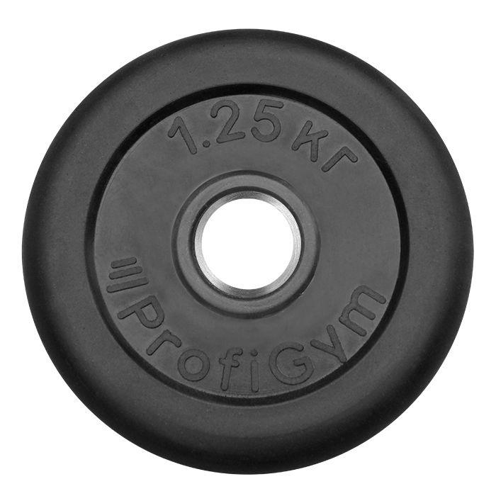 Диск «Profigym» тренировочный обрезиненный 1,25 кг черный 26 мм (металлическая втулка)