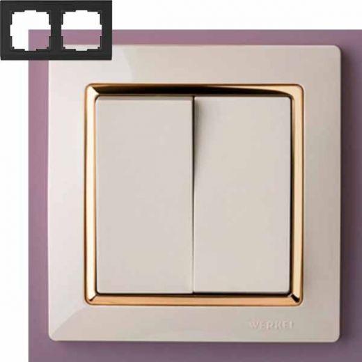 Рамка на 2 поста Werkel WL03-Frame-02-ivory-GD Слоновая кость / золото