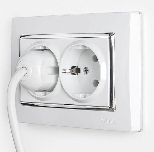 Рамка для двойной розетки Werkel WL03-Frame-01-DBL-white / серебро