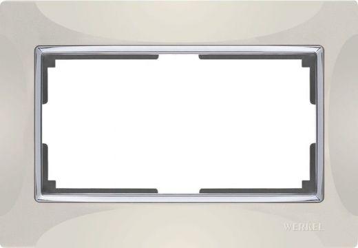 Рамка для двойной розетки Werkel WL03-Frame-01-DBL-Слоновая кость / Серебро