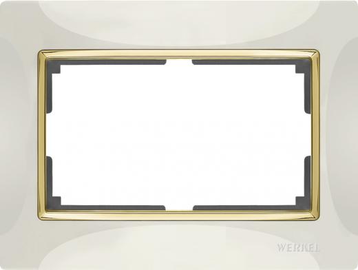 Рамка для двойной розетки Werkel WL03-Frame-01-DBL-ivory-GD Слоновая кость / золото