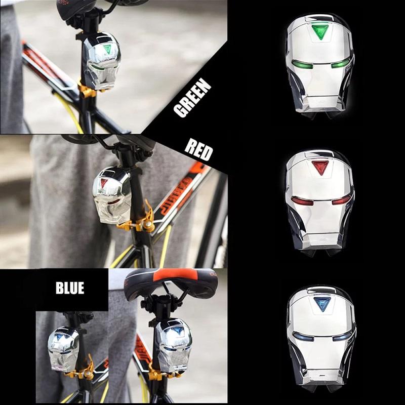 Задний велосипедный фонарь с лазерной дорожкой Железный Человек (Laser Tail Light)