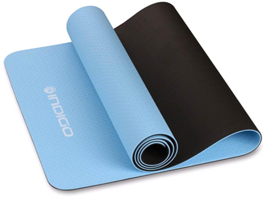 Коврик для йоги и фитнеса двусторонний INDIGO TPE IN106 173*61*0.5см