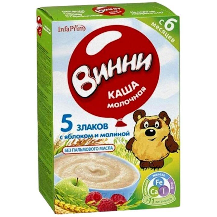 Каша Винни 200г сух.молоч. б/р из смеси 5 злаков с ябл.и малиной с 6 мес.