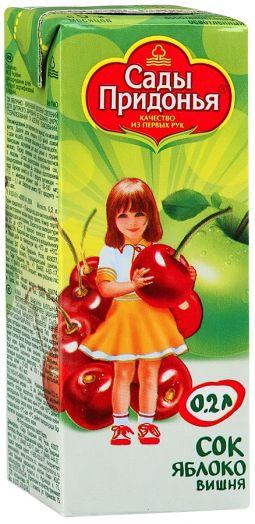 Сок Сады придонья 0,2л яблоко/вишня освет.
