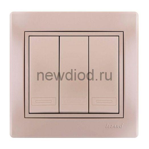MIRA Выключатель тройной жемчужно-белый  перламутр со вставкой Lezard