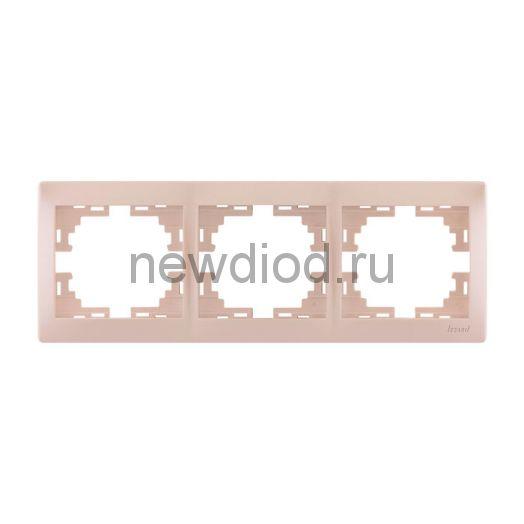 MIRA Рамка 3-ая горизонтальная жемчужно-белый перламутр без вставки Lezard