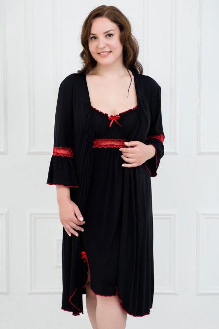 Комплект (халат и сорочка) арт.0060-11 черный, вискоза