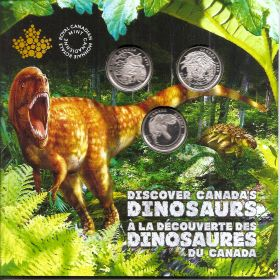 Динозавры Набор монет Канада 25 центов 2019