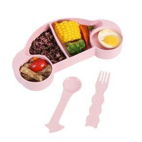 Детская тарелка из пшеничного волокна в виде машины, 4 секции, Цвет Розовый