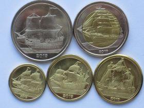 Парусники Набор монет  Острова Тортуга 2019 (5 монет)