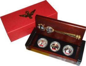 Александр III Фиджи 2 доллара 2012 набор 3 монеты