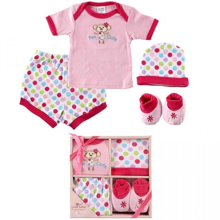 Подарочный набор для новорожденной 4 пр Luvable Friends 07015