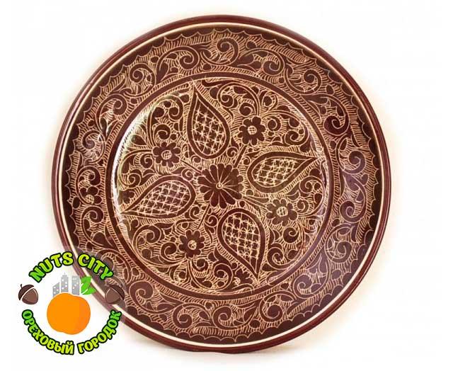 Тарелка коричневая 32см