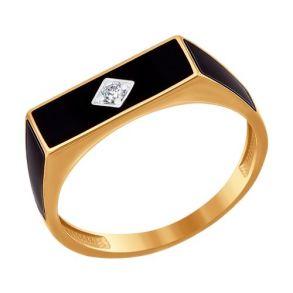 Печатка из золота с эмалью с фианитом 016718 SOKOLOV