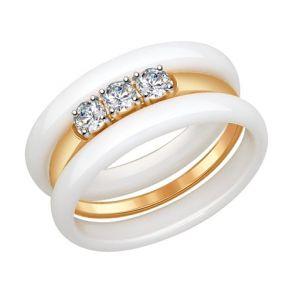 Кольцо из золота с керамикой и фианитами 017320 SOKOLOV