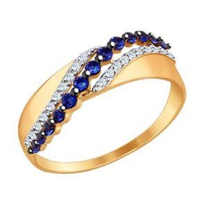 Кольцо из золота с синими и бесцветными фианитами 017361 SOKOLOV