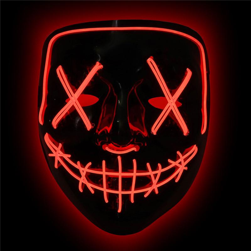 Неоновая маска Судная ночь, цвет красный