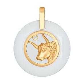 Керамическая подвеска «Знак зодиака Телец» из золота 034980 SOKOLOV