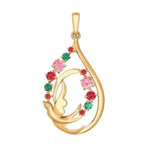 Подвеска из золота с розовыми, зелеными и красными фианитами 035037 SOKOLOV