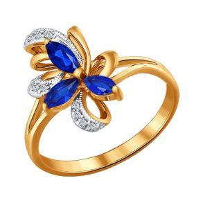 Кольцо из золота с бриллиантами и сапфирами 2010724 SOKOLOV