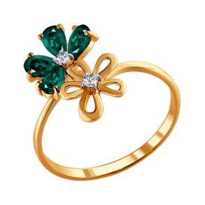 Кольцо из золота с бриллиантами и изумрудами 3010445 SOKOLOV