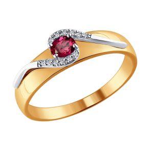 Кольцо из комбинированного золота с бриллиантами и рубином 4010600 №1 SOKOLOV