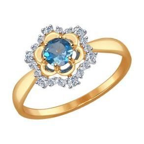 Кольцо из золота с топазом и фианитами 714485 SOKOLOV