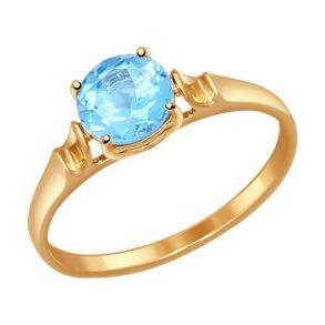 Кольцо из золота с голубым топазом 714487 SOKOLOV