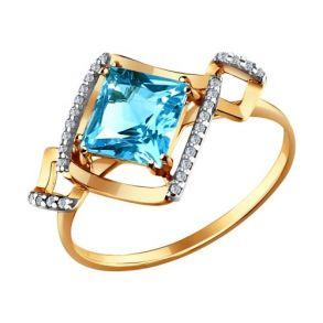 Кольцо из золота с топазом и фианитами 712760  SOKOLOV