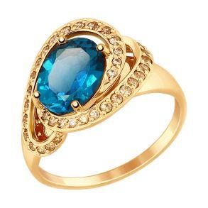 Кольцо из золота с синим топазом и фианитами 714837 SOKOLOV