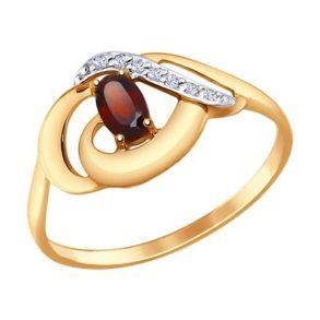 Кольцо из золота с гранатом и фианитами 714651 SOKOLOV