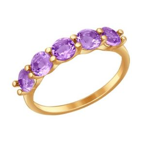 Кольцо из золота с аметистами 714563 SOKOLOV